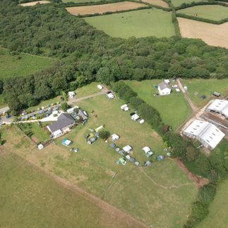 birds eye view of campsite